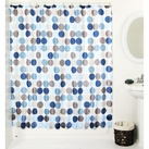 Geometric Circles Shower Curtain with 12 Poly Resin Rings