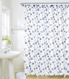 Geometric Shower Curtain with 12 Poly Resin Rings
