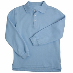 Girl's Long Sleeve Shirt with Picot Collar (Light Blue)
