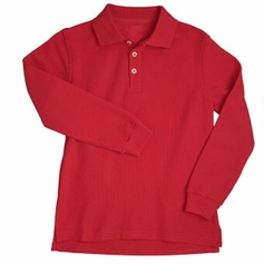 Girl's Long Sleeve Shirt with Picot Collar (Red)