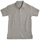 Girl's Short Sleeve Shirt with Picot Collar (Heather Grey)