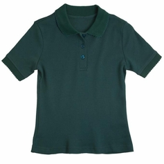 Girl's Short Sleeve Shirt with Picot Collar (Hunter Green)