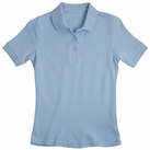 Girl's Short Sleeve Shirt with Picot Collar (Light Blue)