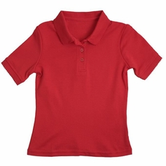 Girl's Short Sleeve Shirt with Picot Collar (Red)