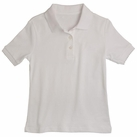 Girl's Short Sleeve Shirt with Picot Collar (White)