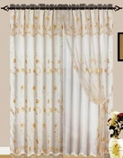 Giselle Embroidered Curtain with Backing (Beige)
