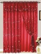 Giselle Embroidered Curtain with Backing (Burgundy)