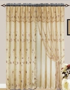 Giselle Embroidered Curtain with Backing (Gold)