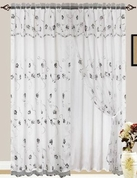 Giselle Embroidered Curtain with Backing (White)