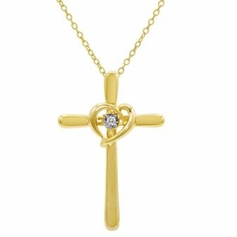 Gold over Sterling Silver Cross Pendant with Diamond Accent