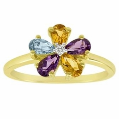 Gold over Sterling Silver Flower Ring