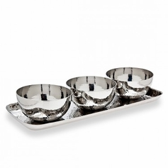Hammered Tray & 3 Round Bowls