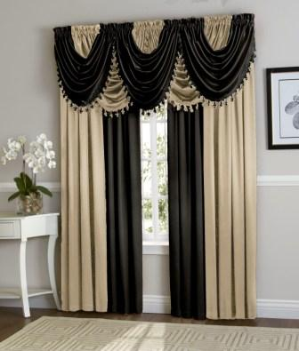Hilton Curtain Set (Beige/ Black)