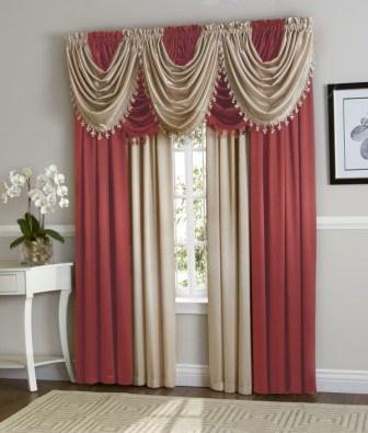 Hilton Curtain Set (Berry/Beige)