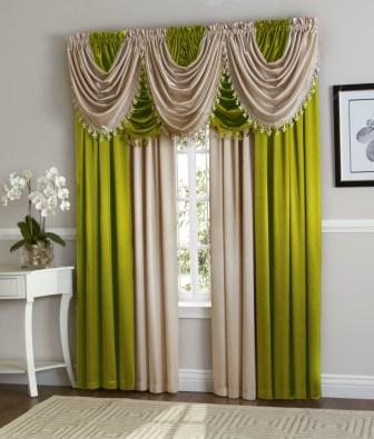 Hilton Curtain Set (Lime/Beige)
