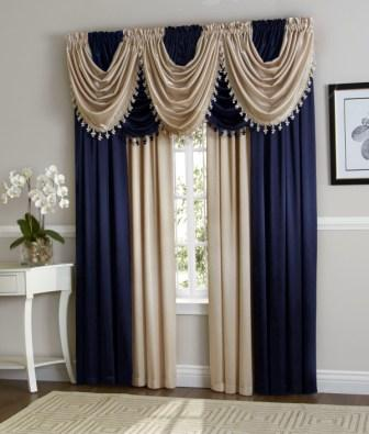 Hilton Curtain Set (Navy/Beige)