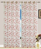 Jaden Embroidered Grommet Curtain (Red)