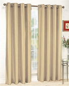 Jane Faux Silk Curtain (2 Piece Set) Beige