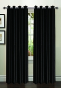 Jane Faux Silk Curtain (2 Piece Set) Black
