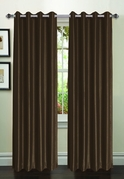 Jane Faux Silk Curtain (2 Piece Set) Brown