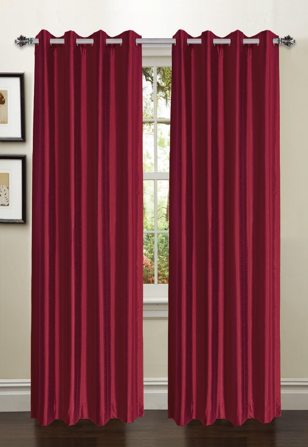 Jane Faux Silk Curtain (2 Piece Set) Burgundy