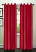 Jane Faux Silk Curtain (2 Piece Set) Crimson
