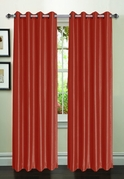 Jane Faux Silk Curtain (2 Piece Set) Rust