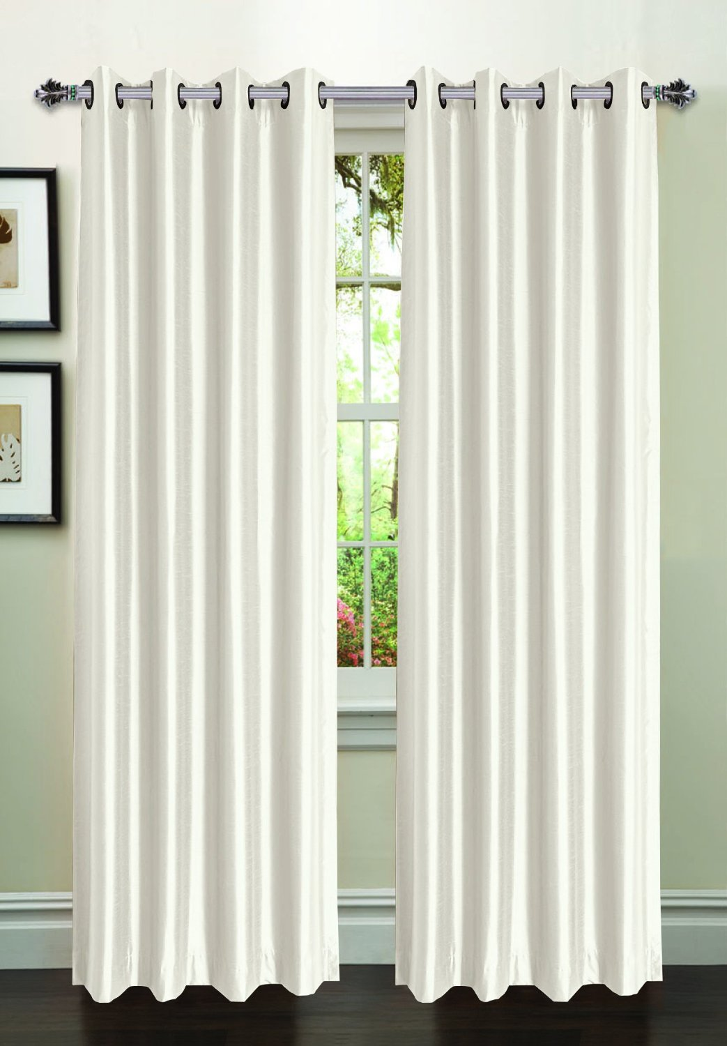 Jane Faux Silk Curtain (2 Piece Set) White
