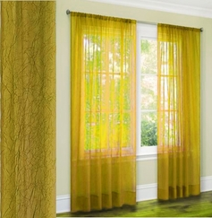 Jenny Crushed Sheer Curtain (Yellow)
