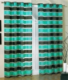 Kori Stripe Organza Curtain (Aqua and Brown)