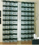 Kori Stripe Organza Curtain (Black and Grey)