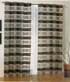Kori Stripe Organza Curtain (Brown and Taupe)