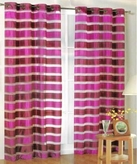 Kori Stripe Organza Curtain (Burgundy and Dusty Rose)