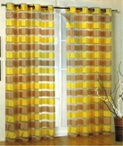 Kori Stripe Organza Curtain (Gold and Taupe)