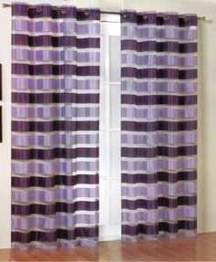 Kori Stripe Organza Curtain (Lavender and Purple)