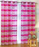 Kori Stripe Organza Curtain (Pink and Fuschia)