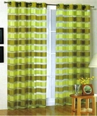 Kori Stripe Organza Curtain (Sage and Lime)