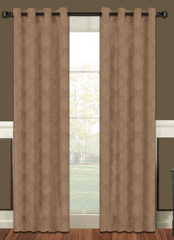 Lattice Blackout Curtain Panel with Grommets (Taupe)