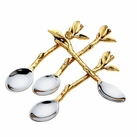 Set of 4 Leaf Design Dessert Spoon