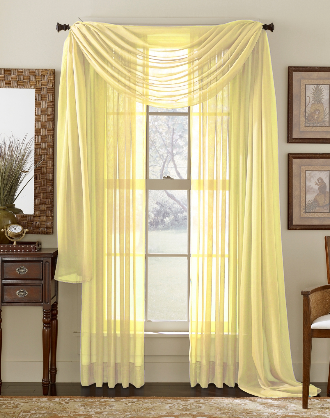 Lemon Yellow Sheer Panel