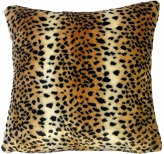 "Leopard Faux Fur Throw Pillow (18""x18"")"