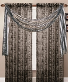 Leopard Printed Sheer Curtain Scarf (Black)