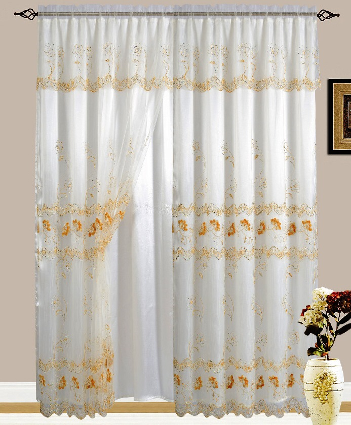 Lexy Embroidered Curtain with Backing (Biege/Gold)