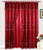 Lexy Embroidered Curtain with Backing (Burgundy)