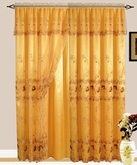 Lexy Embroidered Curtain with Backing (Gold)