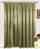 Lexy Embroidered Curtain with Backing (Sage)