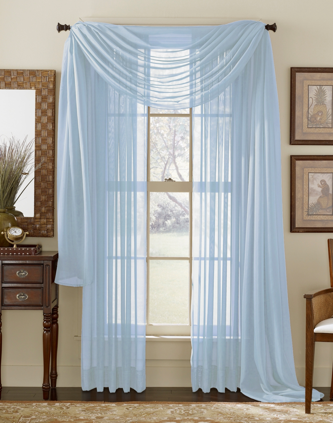light blue sheer curtain scarf moshells. Black Bedroom Furniture Sets. Home Design Ideas