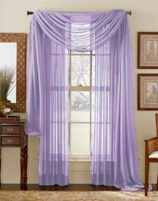 Light Purple Sheer  Curtain Scarf