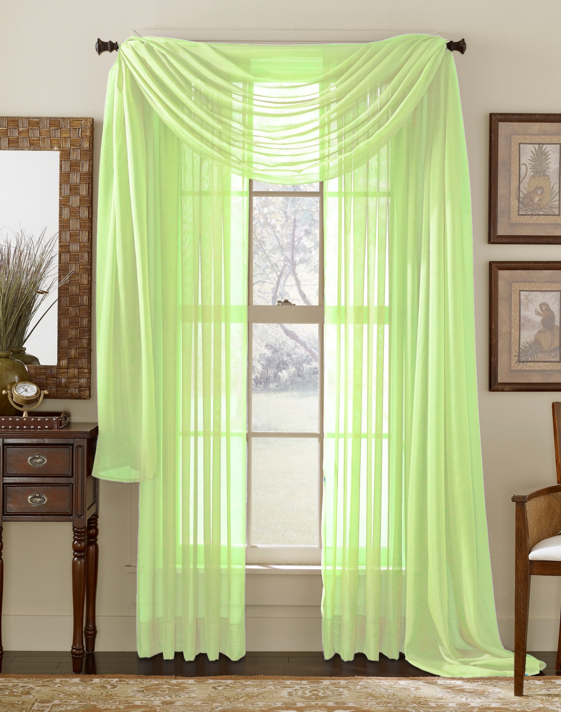 lime green sheer panel moshells. Black Bedroom Furniture Sets. Home Design Ideas
