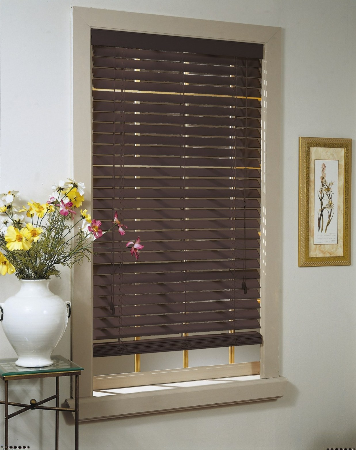 Madera Falsa Faux Wood Blinds (Mahogany)